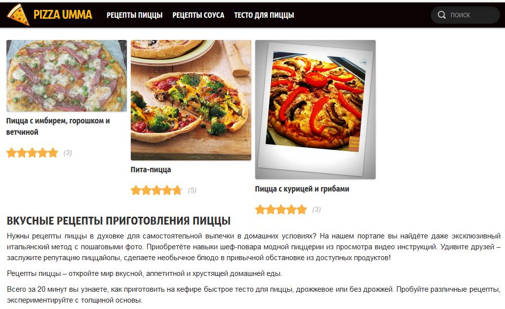 Текст на главную страницу сайта о рецептах пиццы