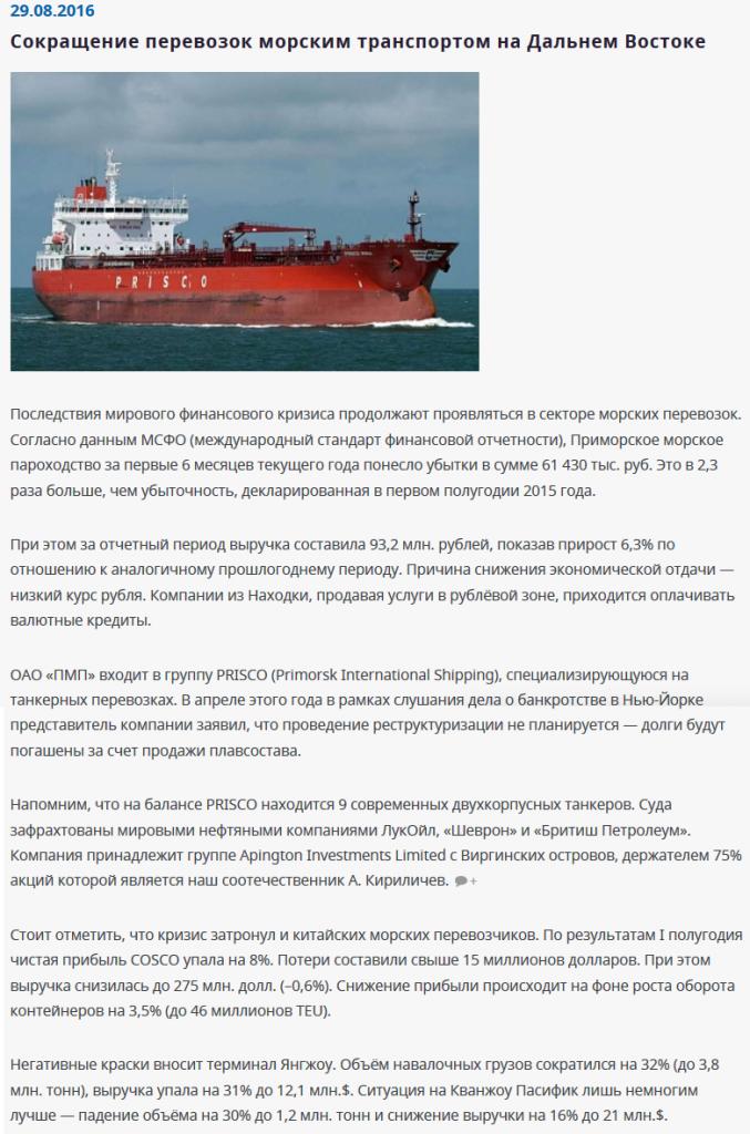 Анализ рынка морских перевозок во Владивостоке