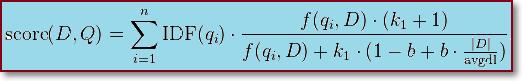 Формула алгоритма BM25